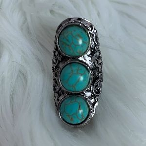 Triple turquoise fashion adjustable band ring